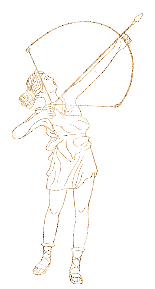 drawing: Artemis with a bow